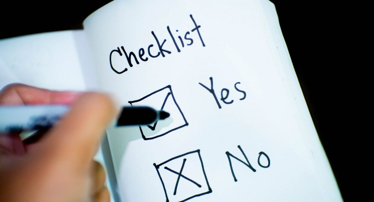 checklist of yes or no